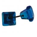 Glasknopp Blå Kvadratisk