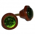 Glasknopp Grön glas/teak