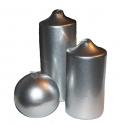 Ljus Blockljus blank lack silver H: 13,5 cm