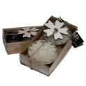 Ljus stort värmeljus vit blomma 2-pack